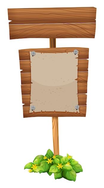 Papel em branco na placa de madeira Vetor grátis