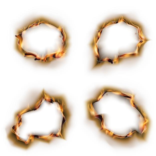 Papel em chamas com conjunto de vetores de buracos queimados Vetor Premium