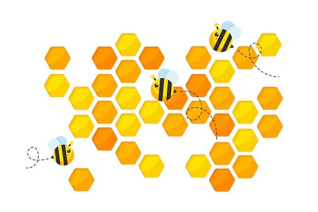 Papel favo de mel hexagonal amarelo dourado cortado com abelhas. Vetor Premium