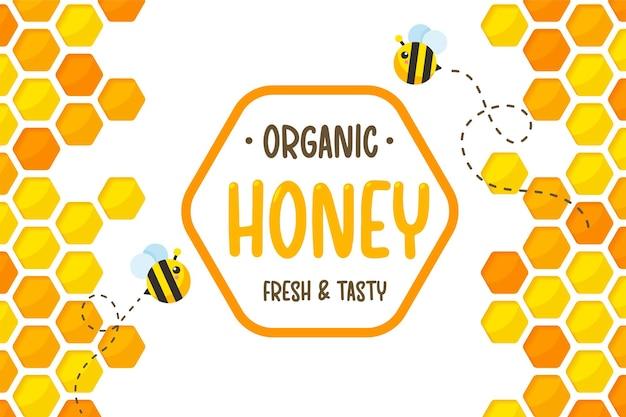 Papel hexagonal ouro amarelo favo de mel corte fundo de papel com abelha e doce mel dentro. Vetor Premium