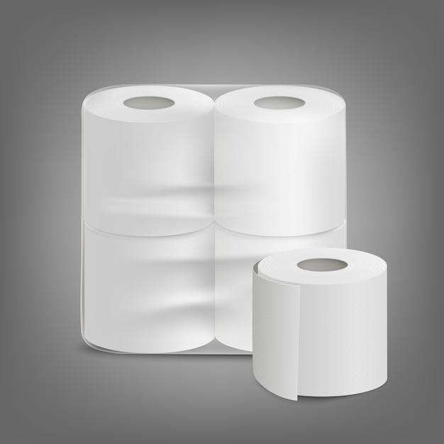 Papel higiênico sem rótulo embalagem ilustração realista isolada. Vetor Premium