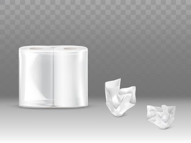 Papel higiênico, toalhas de papel de cozinha embalar 3d realista Vetor grátis