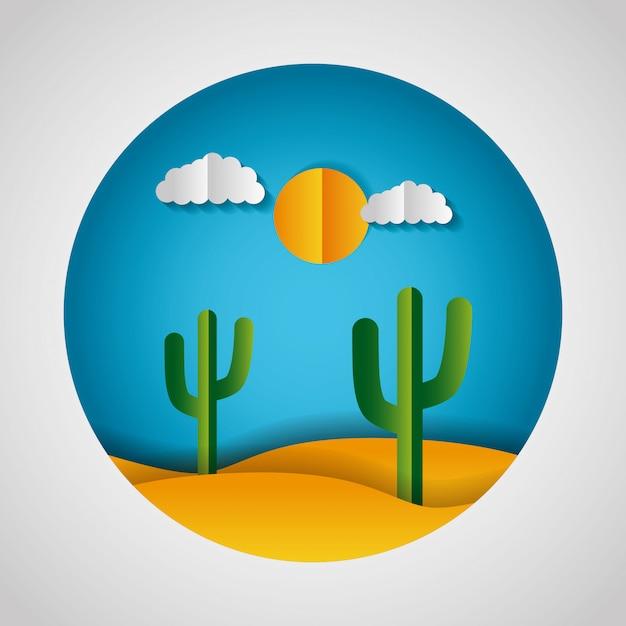 Papel origami paisagem de um deserto Vetor grátis