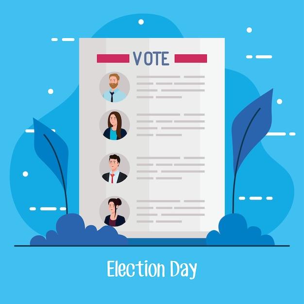 Papel para presidentes de votação no dia da eleição com design de folhas, governo e tema de campanha Vetor Premium