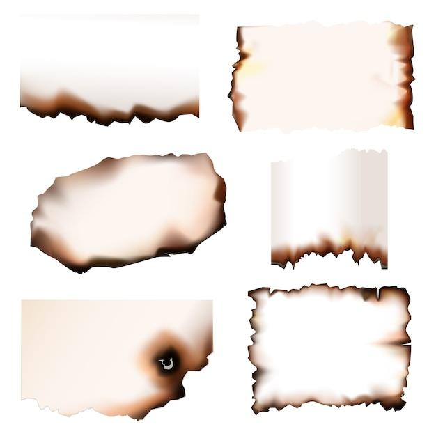 Papel queimado com bordas em chamas, conjunto. pedaços de papel queimados com fogo, desenho realista isolado, pergaminho velho ou folhas de papel com bordas rasgadas Vetor Premium