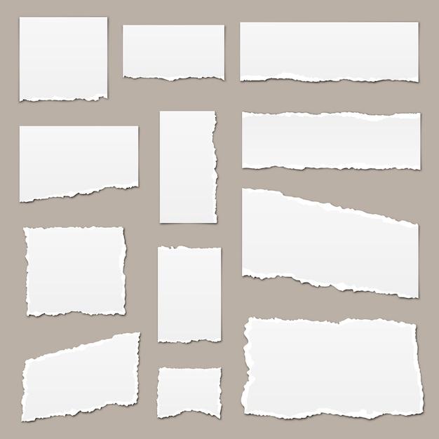 Papel rasgado branco. pedaços de papel rasgado. pedaços de papel isolados. tiras de papel rasgado Vetor Premium