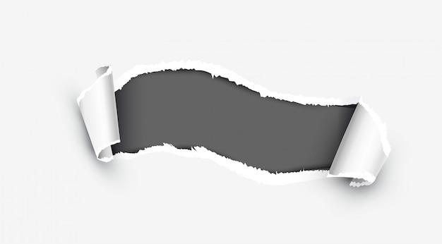 Papel rasgado branco realista com lado danificado Vetor Premium