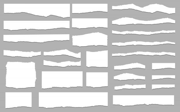 Papel rasgado defina vetor, em camadas. ilustração vetorial Vetor Premium