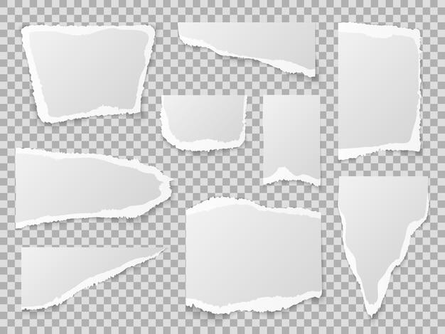Papel rasgado. diferentes formas de pedaços de papel, folhas de memorando texturizadas Vetor Premium