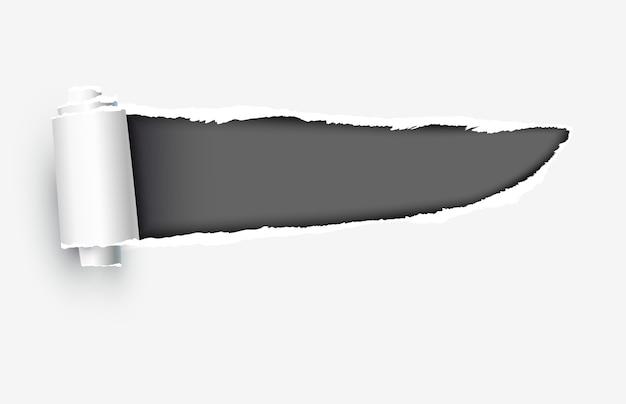 Papel rasgado realista com bordas rasgadas Vetor Premium