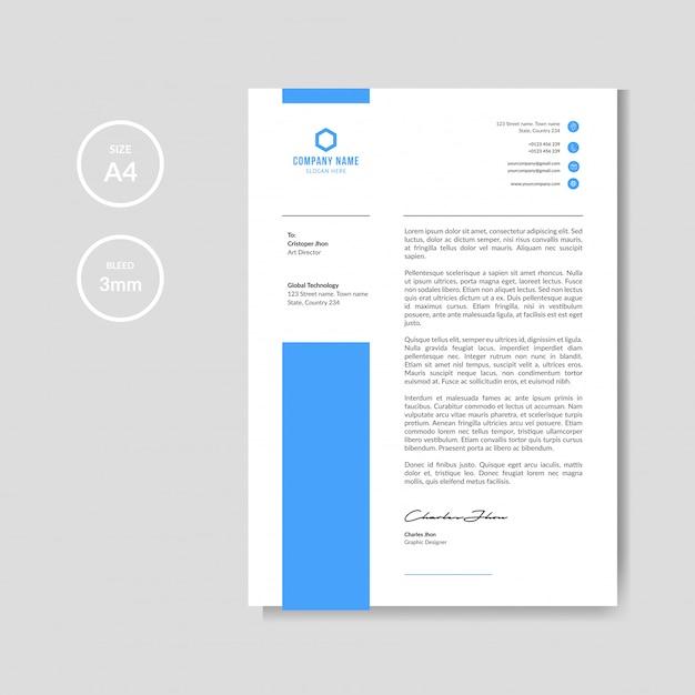 Papel timbrado azul simples e mínimo Vetor Premium