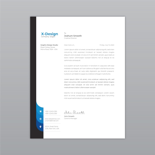 Papel timbrado da empresa criativa e moderna se dignou Vetor Premium