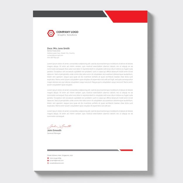 Papel timbrado da empresa moderno com detalhes em vermelho Vetor grátis