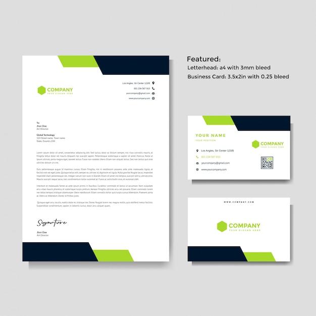 Papel timbrado profissional criativo e modelo de vetor de cartão Vetor Premium