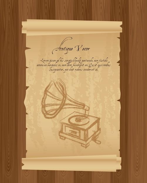 Papel velho com ilustração em vetor grunge gramofone Vetor Premium