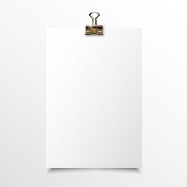 Papel vertical em branco realístico mock up Vetor Premium