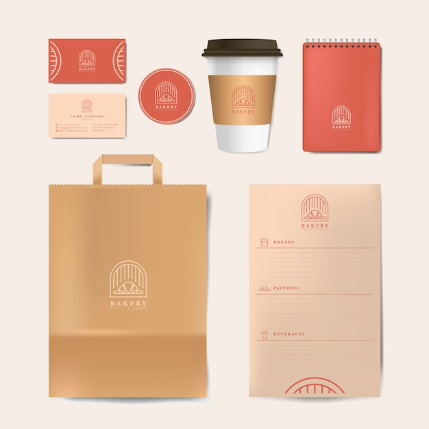 Paper branding mockup set vector Vetor grátis