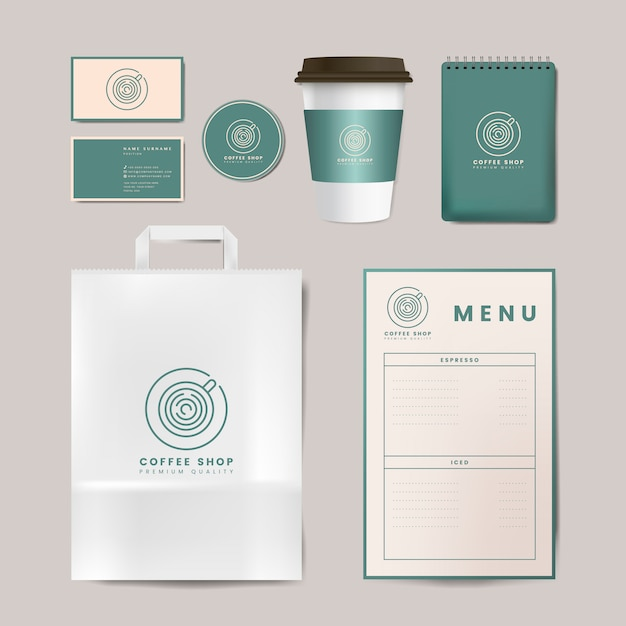 Paper branding mockup vector set Vetor grátis