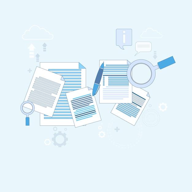 Paper document search ilustração de vetor de negócios de papelada de lupa Vetor Premium