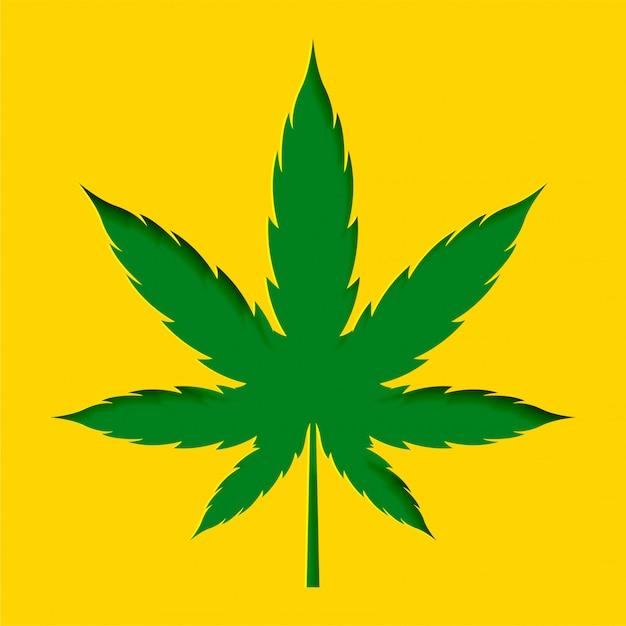 Papercut estilo maconha cannabis folha projeto fundo Vetor grátis