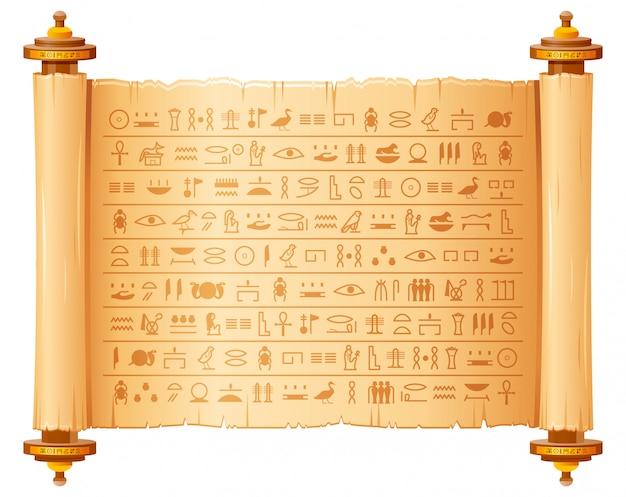 Papiro egípcio antigo com hieróglifos. padrão histórico do egito antigo. pergaminho antigo 3d com símbolos de script, faraós e deuses. Vetor Premium