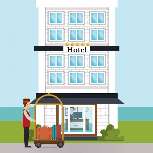 Paquete trabalhando no personagem do hotel Vetor grátis