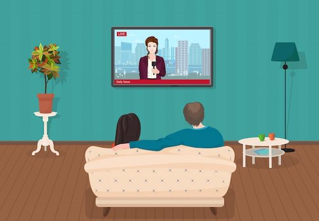 Par, assistindo tv, diariamente, notícia Vetor Premium