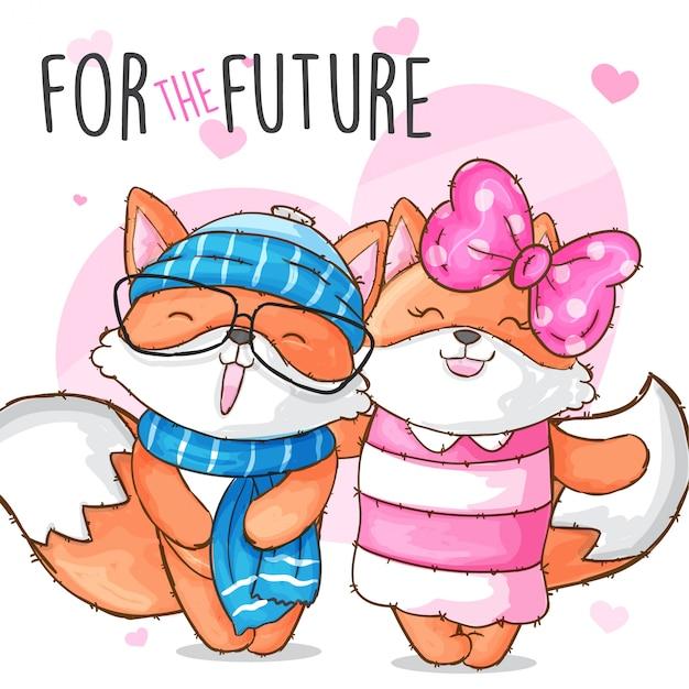 Par, bebê, raposa, mão, desenhado, animal Vetor Premium