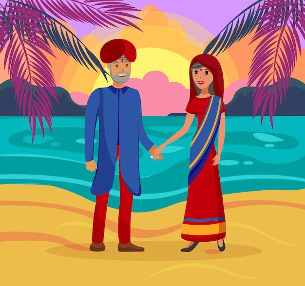 Par casado indiano Vetor Premium