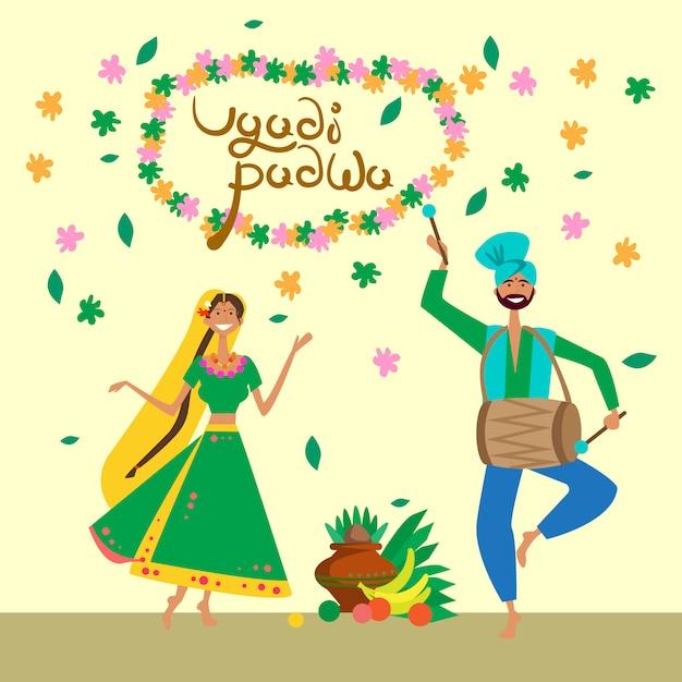 Par, celebrando, feliz, ugadi, e, gudi, padwa, ano novo hindu, cartão cumprimento, feriado Vetor Premium