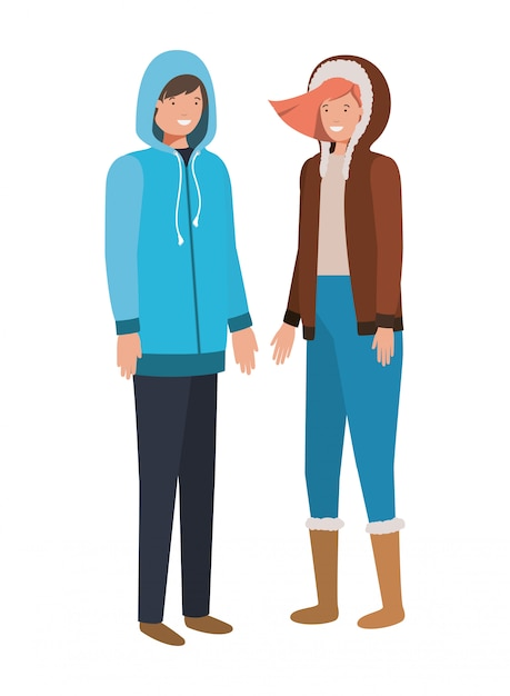Par, com, roupas de inverno, avatar, personagem Vetor Premium