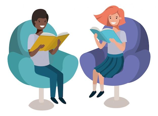 Par criança, sentando, em, sofá, com, livro, avatar, personagem Vetor Premium