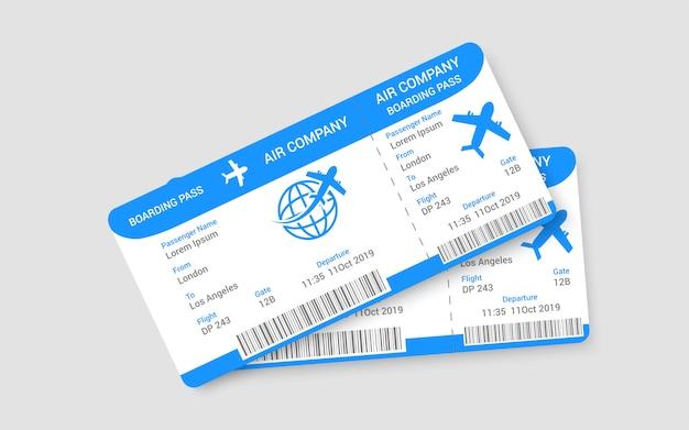 Par de conceito de bilhetes de avião realista Vetor Premium