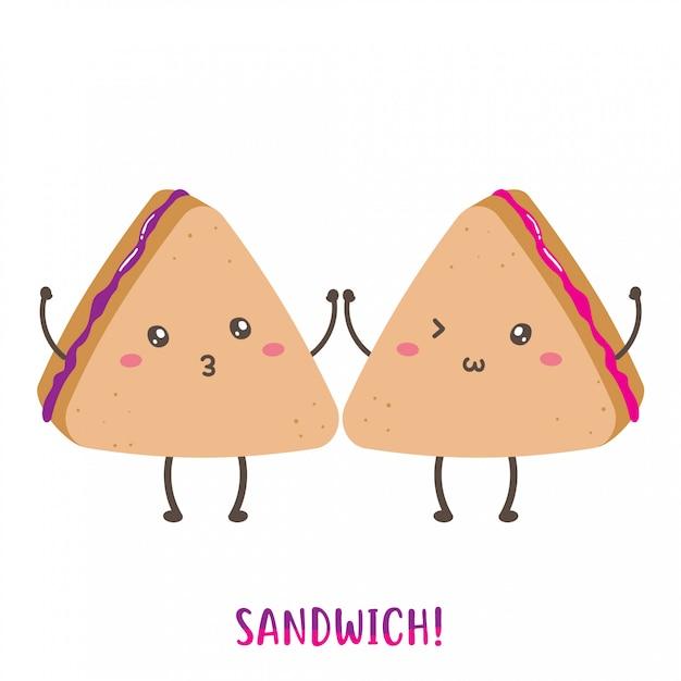 Par de design de vetor de sanduíche feliz bonito Vetor Premium