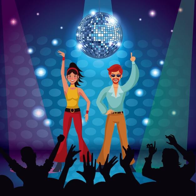 Par, de, discoteca, dançarinos, em, fase Vetor Premium