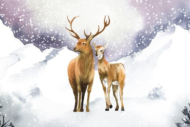 Par de veados desenhados à mão em uma paisagem de inverno Vetor grátis