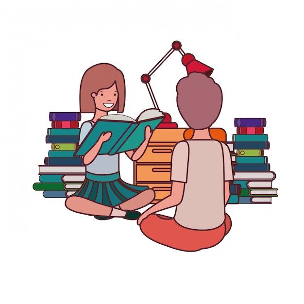 Par, estudante, leitura, livro Vetor grátis