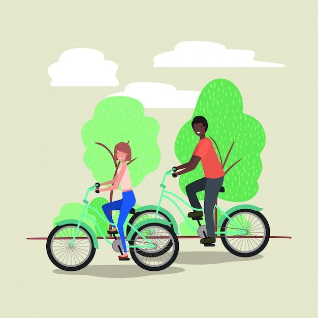 Par jovem, bicicleta, parque Vetor Premium