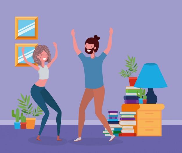 Par jovem, dançar, em, a, livingroom Vetor grátis