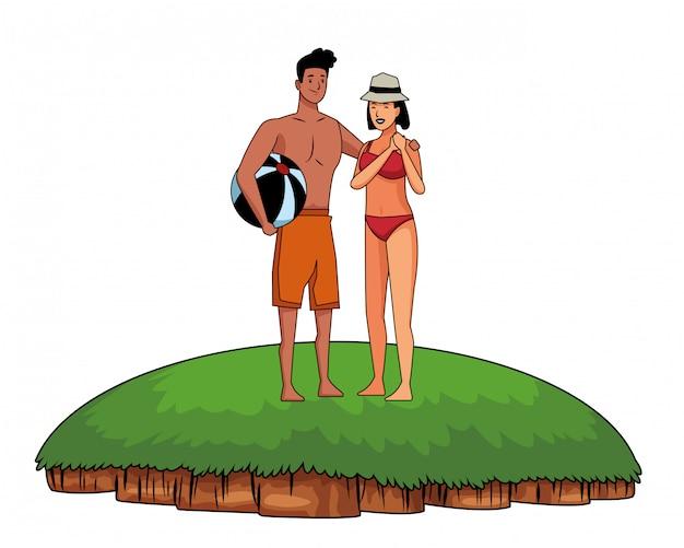 Par jovem, desfrutando, verão, desenhos animados Vetor grátis