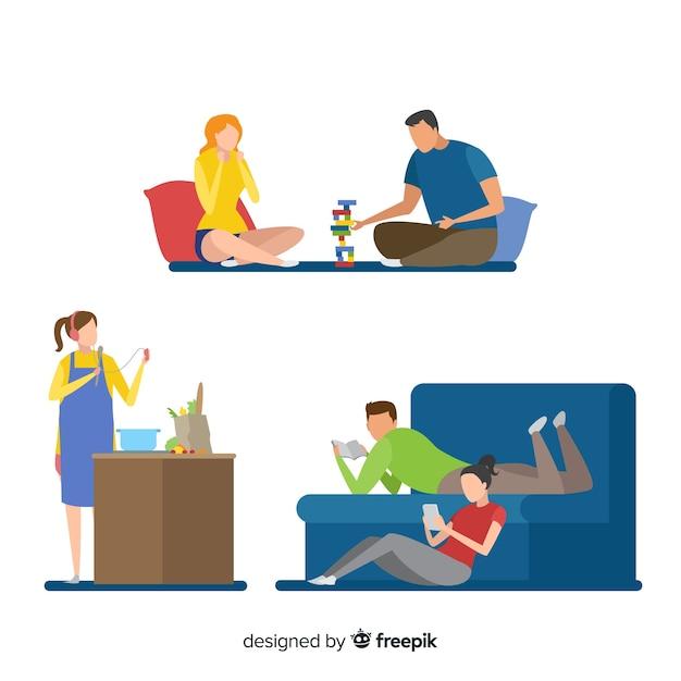 Par jovem, fazendo atividades, casa Vetor grátis