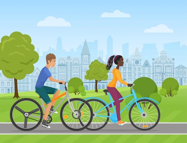 Par jovem, montando, um, desporto, bicicleta Vetor Premium
