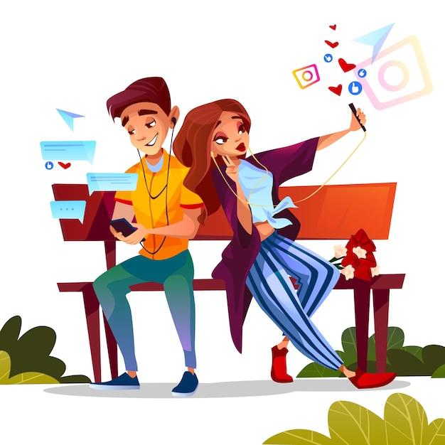 Par jovem, namorando, ilustração, de, menino adolescente, e, menina, sentar-se banco, junto, com, flores Vetor grátis
