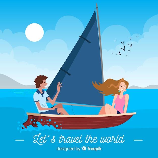 Par, ligado, um, bote, viaje fundo Vetor grátis