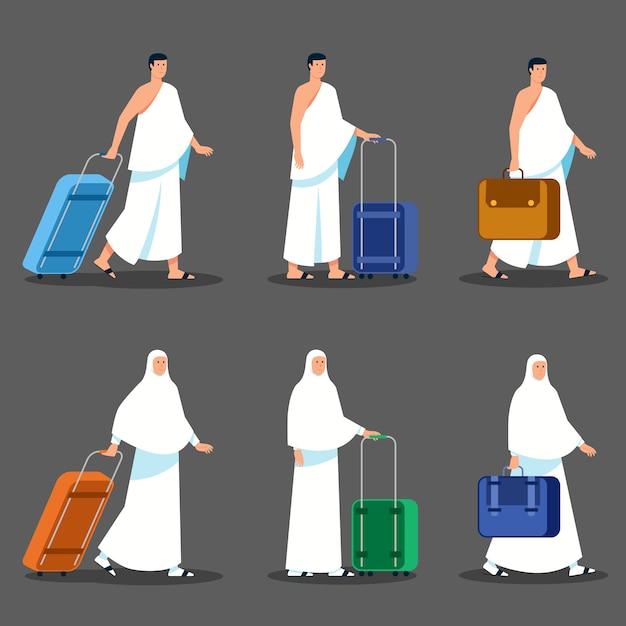 Par, peregrinos, puxando pasta, esperando partida Vetor Premium