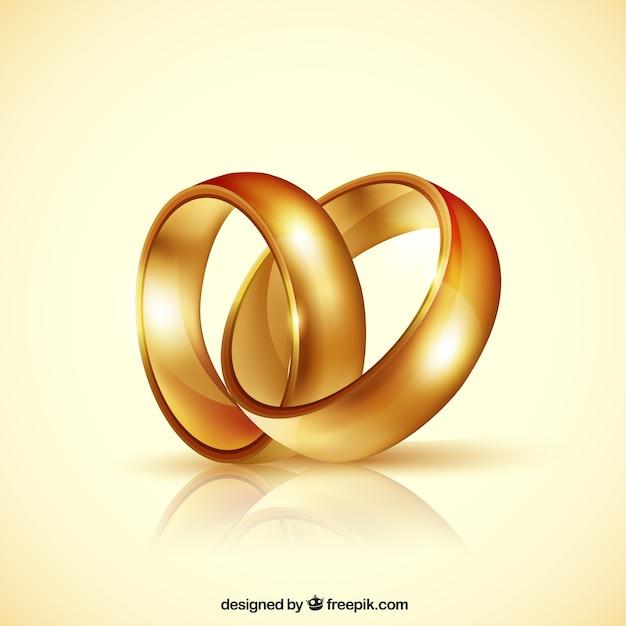 Par realista de alianças de casamento Vetor grátis
