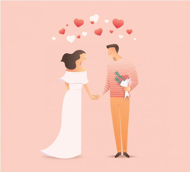 Par, relacionamento amoroso, segurar passa Vetor Premium