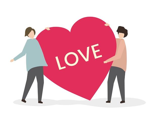 Par romântico, em, amor, ilustração Vetor grátis