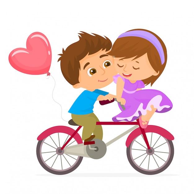Par romântico em uma bicicleta no dia dos namorados Vetor Premium