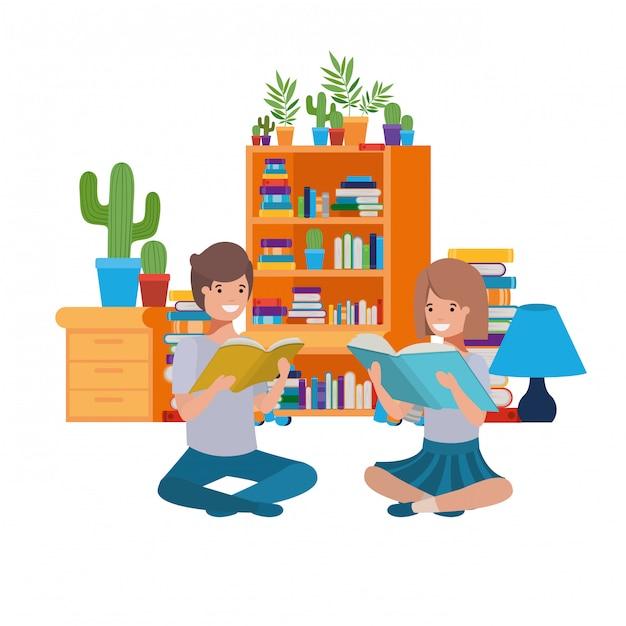 Par, sentando, com, pilha livros Vetor Premium